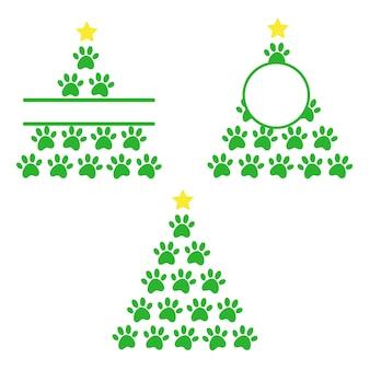 Árvore de natal com estampas de patas de cães e gatos feliz natal estampas de patas cão monograma cão
