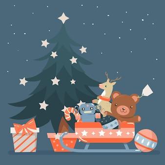 Árvore de natal com estrelas brancas e brinquedos