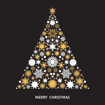 Árvore de natal com flocos de neve brancos e dourados, elementos de natal e decorações em fundo preto. ilustração vetorial para cartão postal, cartaz ou convite.