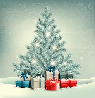 Árvore de natal com fundo de presentes.