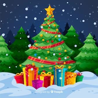 Árvore de natal com fundo de presentes