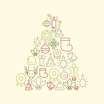 Árvore de natal com ícones coloridos de natal