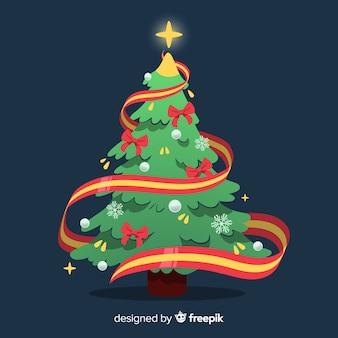 Árvore de natal com ilustração de fita