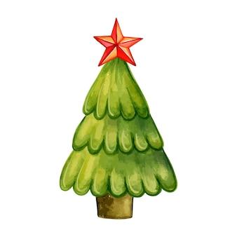 Árvore de natal com ilustração em aquarela de estrela vermelha