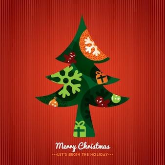 Árvore de natal com letras feliz natal no fundo vermelho