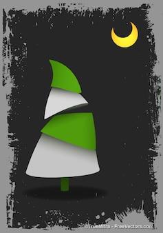 Árvore de natal com lua grunge background vector set