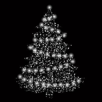 Árvore de natal com luzes confetes prata em um fundo escuro