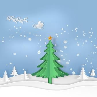 Árvore de natal com neve na temporada de inverno