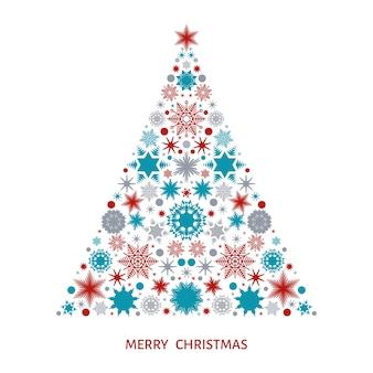 Árvore de natal com padrão de elementos e decorações de natal de flocos de neve multicoloridos