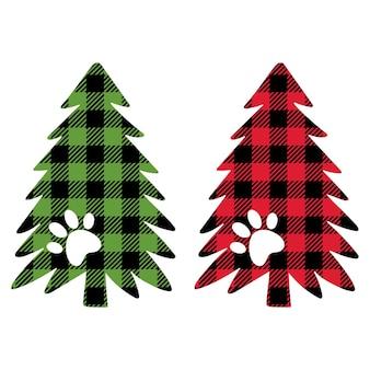 Árvore de natal com pegadas de cães e gatos feliz natal buffalo plaid dog paw love dogs