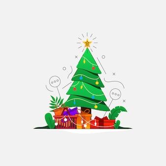 Árvore de natal com presente