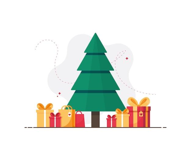Árvore de natal com presentes coloridos e sacolas de compras para o ano novo