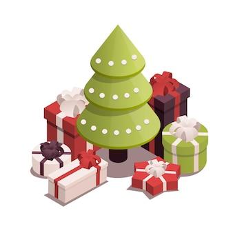 Árvore de natal com presentes.