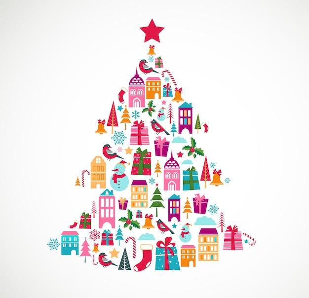 Árvore de natal composta por vários ícones de natal. fundo para cartão de felicitações, banner ou cartaz