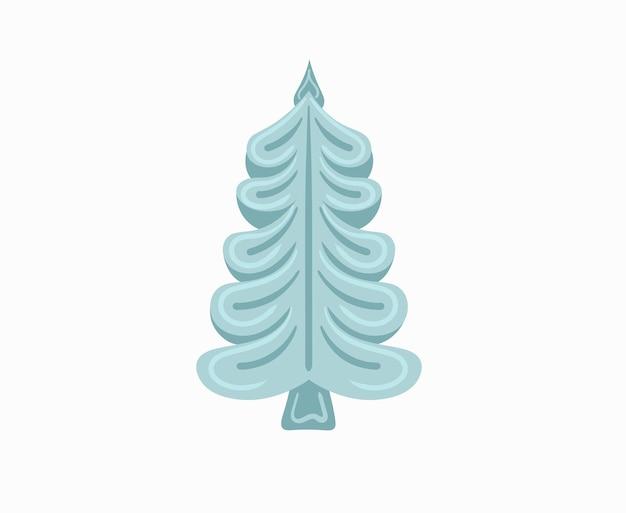 Árvore de natal de ano novo com guirlandas lâmpada estrela natal pinheiros feriado de inverno design plano