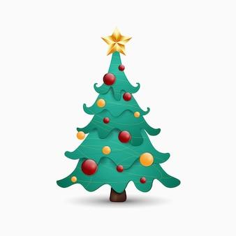 Árvore de natal de desenho vetorial decorada com bolas coloridas, estrela brilhante isolada em um fundo branco. véspera de ano novo.