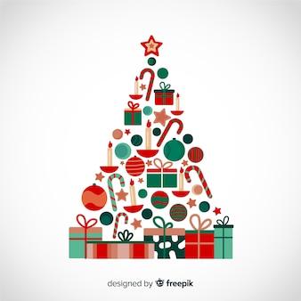 Árvore de natal de design plano feita de caixas de presente