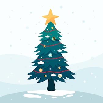 Árvore de natal de design plano