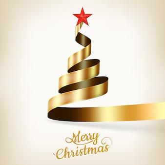 Árvore de natal de fita ouro e estrela.
