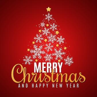 Árvore de natal de flocos de neve e estrelas douradas. cartão de presente festivo.