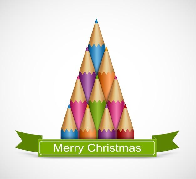 Árvore de natal de lápis de cor. Vetor Premium