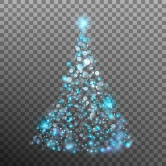 Árvore de natal de luz e bokeh.