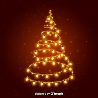 Árvore de natal de luzes douradas