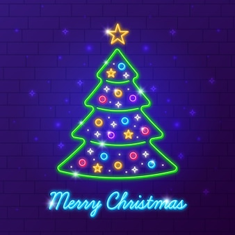 Árvore de natal de néon colorido