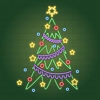 Árvore de natal de néon com bolas de natal e enfeites de natal