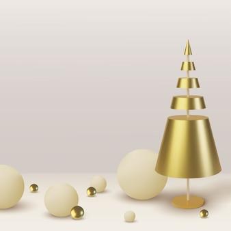 Árvore de natal de ouro metálico. fundo abstrato realista com. cartão, convite com feliz ano novo e natal.