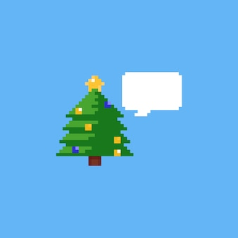 Árvore de natal de pixel com bolha do discurso Vetor Premium