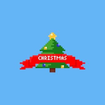 Árvore de natal de pixel com fita vermelha Vetor Premium