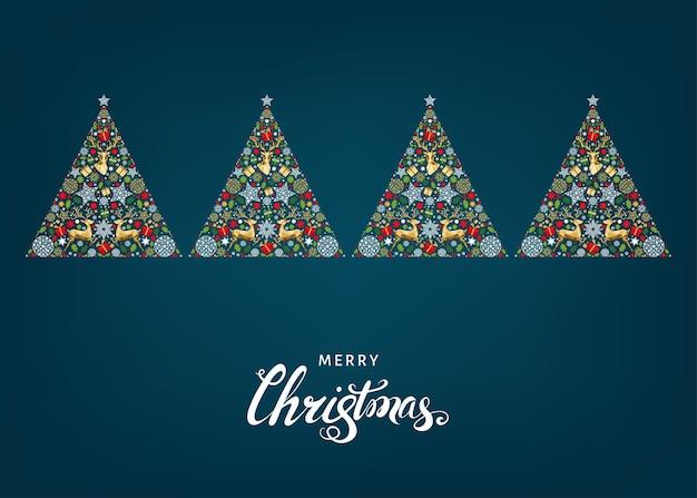 Árvore de natal. decoração dourada, vermelha, verde e branca. fundo de feliz ano novo. teste padrão colorido com ouro renas de natal, presentes, flocos de neve. cartão do vetor.