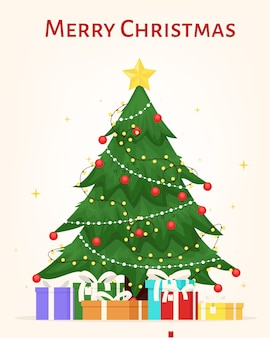 Árvore de natal decorada com bolas de caixas de presente estrela