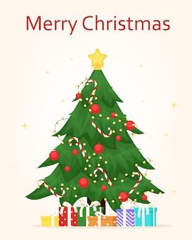 Árvore de natal decorada com estrela, caixas de presente, bolas e grinalda.
