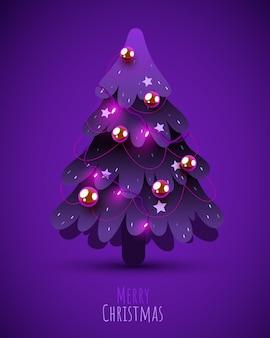 Árvore de natal decorada com guirlandas, bolas e lâmpadas de decoração feliz natal e feliz ano novo