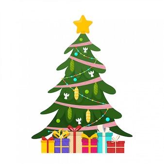 Árvore de natal decorada com presentes. estrela, bolas de decoração e luzes de guirlanda. ilustração vetorial isolada