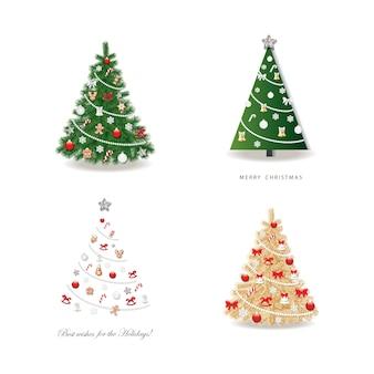 Árvore de natal decorada conjunto.