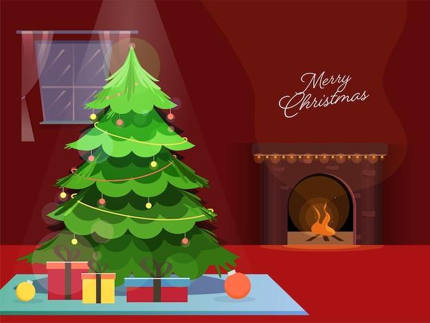 Árvore de natal decorativa com caixas de presente e lareira em fundo vermelho para celebração de feliz natal.