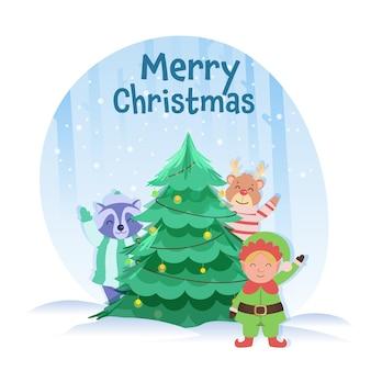 Árvore de natal decorativa com duende de desenho animado, guaxinim, rena em fundo nevado azul e branco para o conceito de feliz natal.