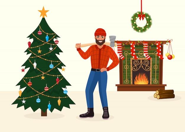 Árvore de natal derrubada e homem com machado no quarto decorado de ano novo