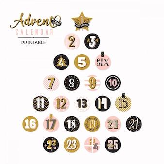 Árvore de natal do calendário do advento