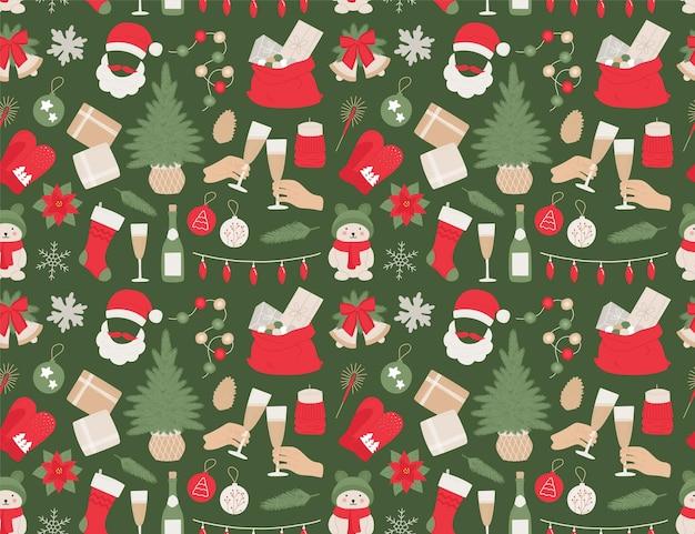 Árvore de natal do padrão de ano novo de seamles, sinos, bola, champanhe, presentes, guirlanda para impressão, têxteis