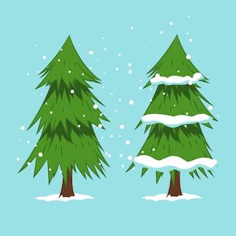Árvore de natal dos desenhos animados na ilustração de neve no fundo.
