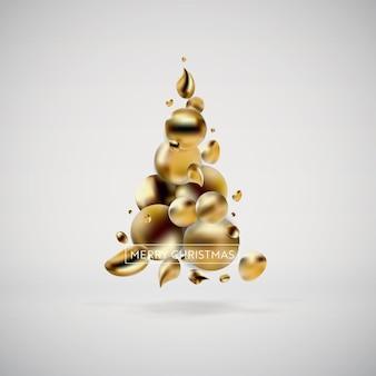 Árvore de natal dourada abstrata. fundo líquido fluido de elementos gráficos modernos. modelo de cartão, cartaz, folheto, apresentação, banner. ilustração vetorial