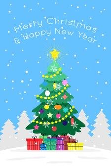 Árvore de natal e ano novo decorada com brinquedos, bolas e guirlandas com presentes coloridos e neve sobre um fundo azul. imagem plana de vetor gira para cartão ou cartão postal.