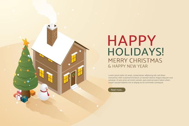 Árvore de natal e caixas de presente em casa feliz natal e feliz ano novo