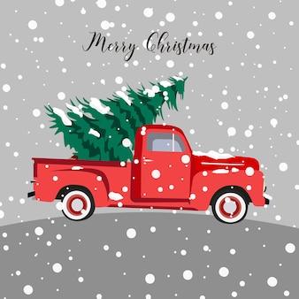 Árvore de natal e caminhonete com neve