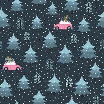 Árvore de natal e carro de brinquedo à noite. padrão uniforme. um estilo escandinavo infantil desenhado à mão. floresta de pinheiros.