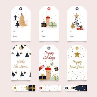 Árvore de natal e coleção de etiquetas para presentes